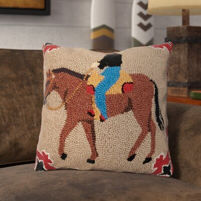 Rhames Horse and Rider Wool Throw Pillow
