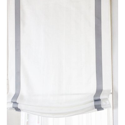 Relaxed Linen Sheer Roman Shade Blind Size: 34 W x 64 L, Finish: White/Gray
