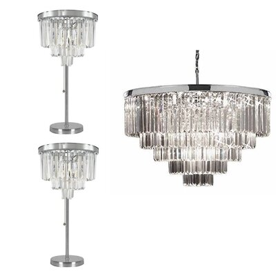 Rockford 3 Piece Crystal 18-Light Crystal Chandelier