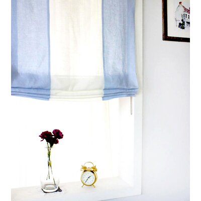 Two Tone Linen Relaxed Sheer Roman Shade Blind Size: 26 W x 64 L, Finish: Blue/White