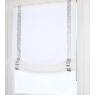 Relaxed Linen Sheer Roman Shade Blind Size: 26 W x 64 L, Finish: White/Silver