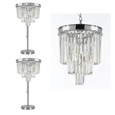 Roser 3 Piece Crystal 3-Light Crystal Chandelier