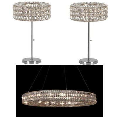 Rosewood 3 Piece Ring Crystal 21-Light Crystal Chandelier