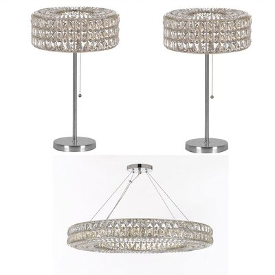 Rothesay 3 Piece Ring Crystal 17-Light Crystal Chandelier