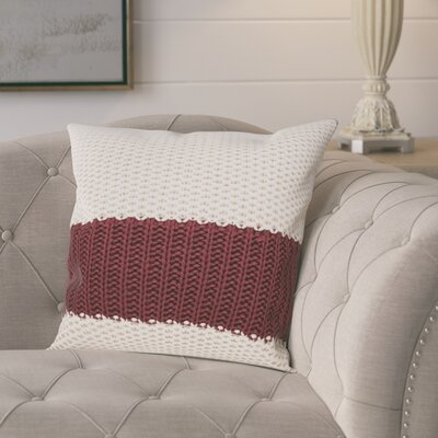 Girton Throw Pillow Color: Cream/Burgundy