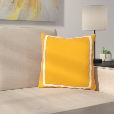 Biller Simple Square Outdoor Throw Pillow Color: Orange, Size: 18 x 18