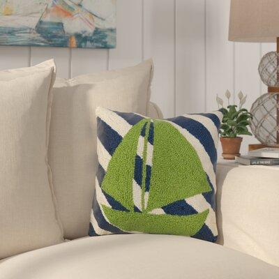 Eakes Sail Boat Stripes Wool Throw Pillow
