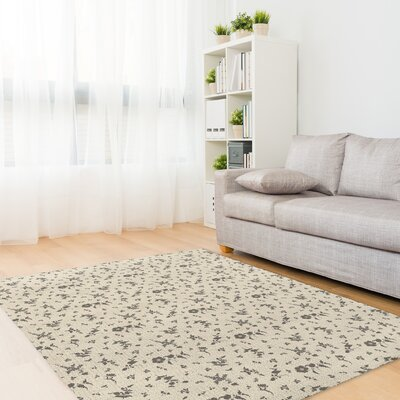 Hepner Floral Dance Ivory/Charcoal Area Rug Rug Size: Rectangle 3 x 5
