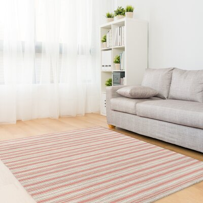 Evins Coral/Tan Area Rug Rug Size: Rectangle 5 x 7