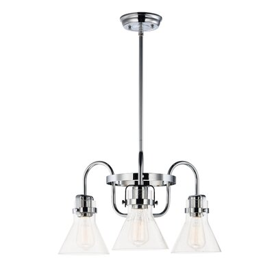 Haefner Single Tier 3-Light Chandelier Finish: Polished Chrome