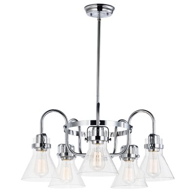 Haefner Single Tier 5-Light Chandelier Finish: Polished Chrome