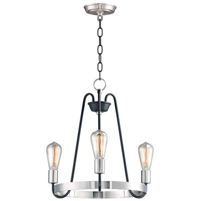 Hafford 3-Light Candle-Style Chandelier Finish: Black/Satin Nickel