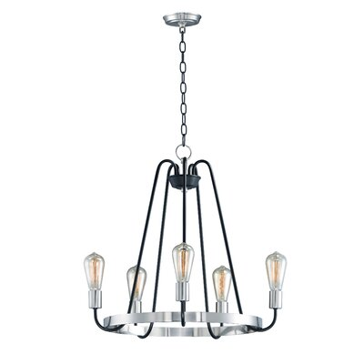 Hafford Single Tier 5-Light Candle-Style Chandelier Finish: Black/Satin Nickel