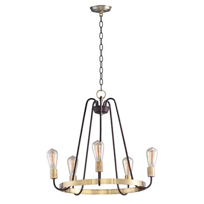 Hafford Single Tier 5-Light Candle-Style Chandelier Finish: Oil Rubbed Bronze/Antique Brass