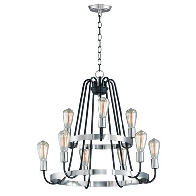 Hafford 9-Light Candle-Style Chandelier Finish: Black/Satin Nickel