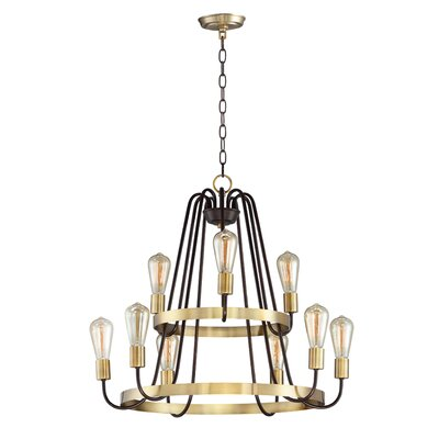 Hafford 9-Light Candle-Style Chandelier Finish: Oil Rubbed Bronze/Antique Brass