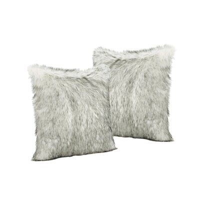 Hunziker Furry Faux Fur Throw Pillow Color: White/Gray