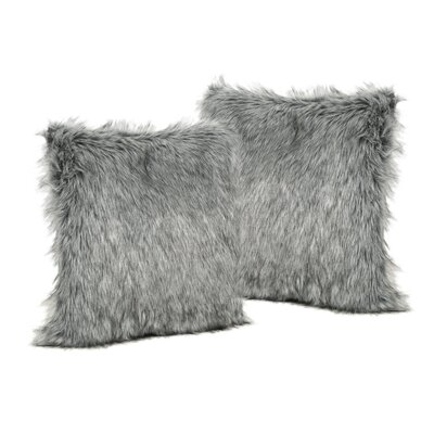 Hunziker Furry Faux Fur Throw Pillow Color: Dark Gray/Light Gray