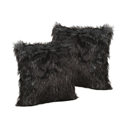 Hunziker Furry Faux Fur Throw Pillow Color: Black/White