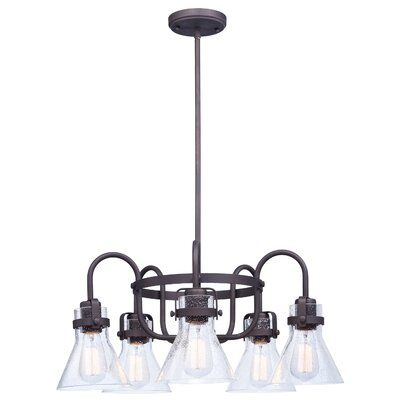 Haefner Single Tier 5-Light Chandelier Finish: Oil Rubbed Bronze