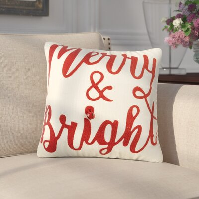 Delmare Holiday Crewel 100% Cotton Throw Pillow