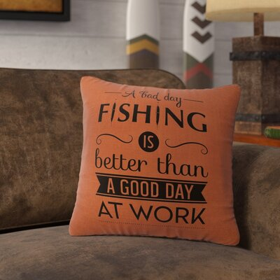 Neale Fishing Day Throw Pillow Color: Paprika