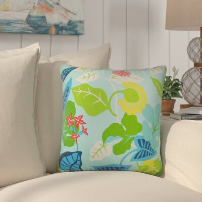 Cole Floral Outdoor Throw Pillow Color: Turquoise, Size: 24 x 24