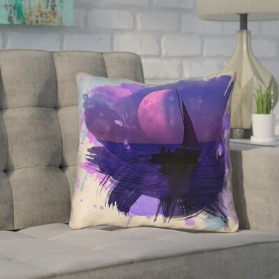 Houck Watercolor Moon and Sailboat Outdoor Throw Pillow Size: 20 H x 20 W