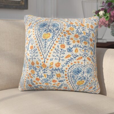 Zyra Down Filled 100% Cotton Throw Pillow Size: 18 x 18, Color: Blue
