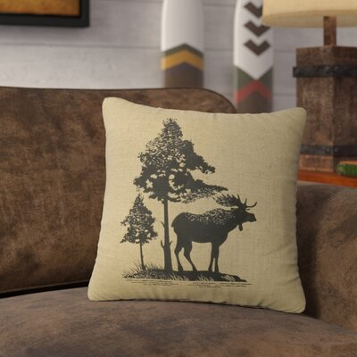 Nakagawa Moose Tree Throw Pillow Color: Straw