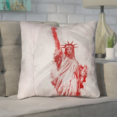 Houck Watercolor Statue of Liberty Printed Zipper Square Throw Pillow Size: 14 x 14