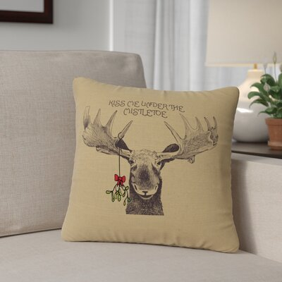 Albury Mistletoe Moose Throw Pillow Color: Straw