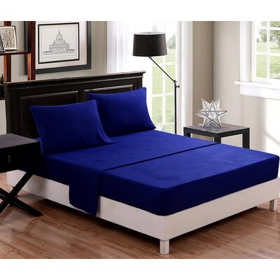 McCombs 4 Piece Sheet set Color: Navy Blue, Size: Full