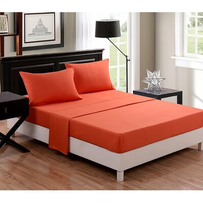 McCombs 4 Piece Sheet set Color: Orange, Size: Full