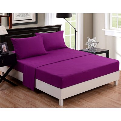 McCombs 4 Piece Sheet set Color: Purple, Size: Twin