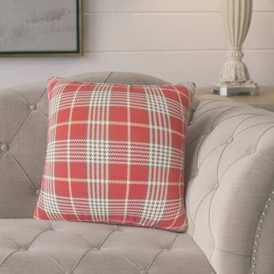 Datro Plaid Down Filled 100% Cotton Throw Pillow Size: 24 x 24, Color: Red