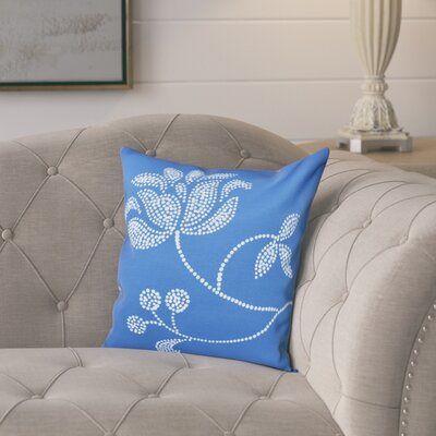Maniteau Flower Bloom Print Throw Pillow Size: 16 H x 16 W, Color: Navy Blue