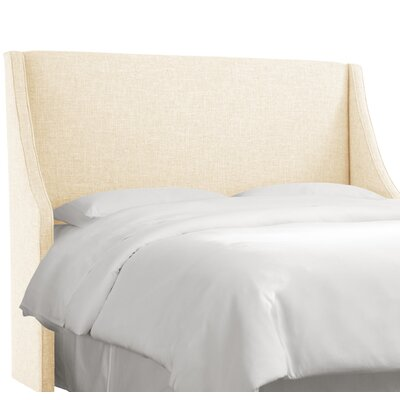 Crumrine Swoop Arm Upholstered Wingback Headboard Size: Twin, Color: Zuma White
