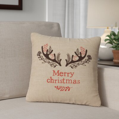 Brownlee Antlers Throw Pillow Color: Natural