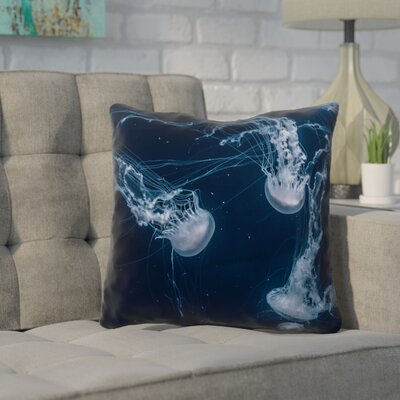 Nathaniel Jellyfish Cotton Throw Pillow Size: 14 x 14