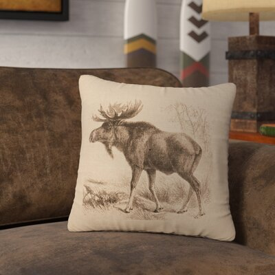 Nakagawa Moose Scene Throw Pillow Color: Natural
