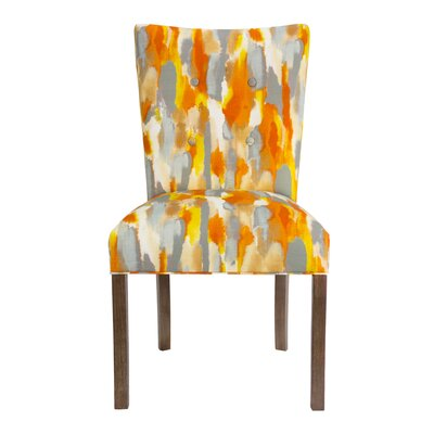 Garavan Fan Back Upholstered Dining Chair Upholstery Color: Orange/Yellow/Gray, Leg Color: Walnut