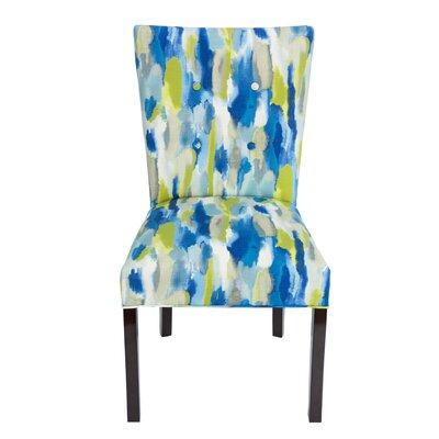 Garavan Fan Back Upholstered Dining Chair Upholstery Color: Blue/Lemon/Gray, Leg Color: Espresso