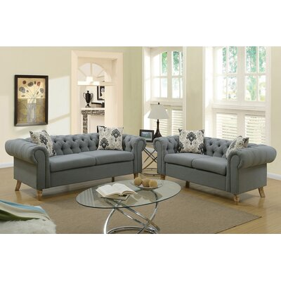 Torain 2 Piece Living Room Set Upholstery: Ash Black