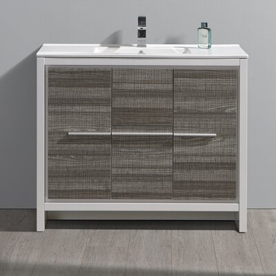 "Fresca Allier Rio 40"" Ash Grey Modern Bathroom Cabinet w/ Sink"