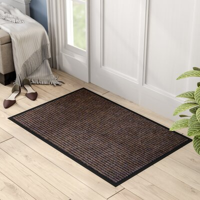 Hastings Rectangular Indoor Ribbed Entrance Doormat Mat Size: Rectangle 3 x 2, Color: Brown