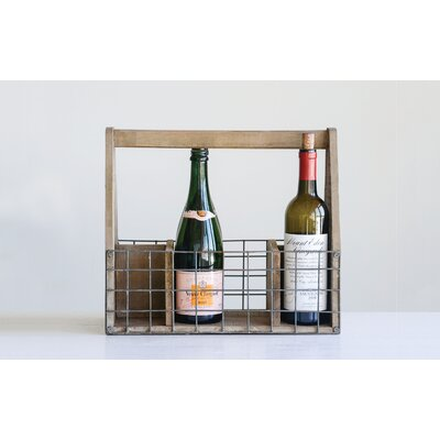 Mervine Wood and Wire 6 Bottle Tabletop Wine Rack