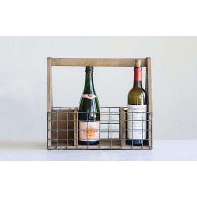 Mervine Wood and Wire 6 Bottle Tabletop Wine Rack