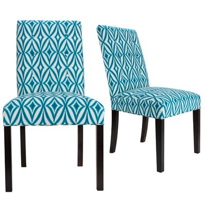 Lozano Upholstered Dining Chair Upholstery Color: Blue,/White