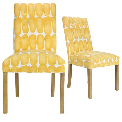 Lozano Upholstered Dining Chair Upholstery Color: Yellow/White